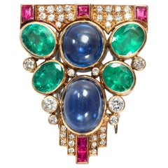 8.2 Carat Sapphire, 4.5 Carat Emerald, Ruby Diamond Vintage Dress Clip Brooch