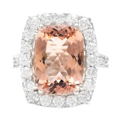 8.20 Carat Natural Morganite and Diamond 14k Solid White Gold Ring