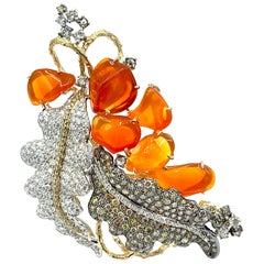 8.20 Carat Pave Diamond and Fire Opal 18 Karat Leaves Pendant Brooch