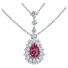 8.20 Carat Rare Pink Spinel Gemstone and Diamonds Necklace in 18K White Gold