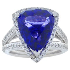 8.20 Carat Trillion Tanzanite and Diamond White Gold Cocktail Ring
