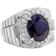8.20 Carat Natural Diamond and Blue Sapphire 14 Karat Solid Gold Men's Ring