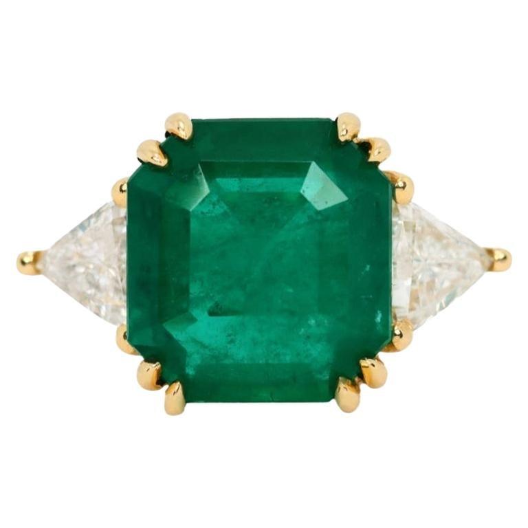 8.20tcw 18K Three Stone Colombian Emerald Cut & Trillion Diamond Ring