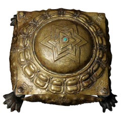 8213 16thC Nepalese Copper Yantra with Solid-Cast Turtle Feet