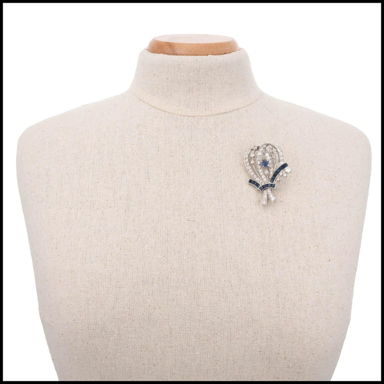 Women's 8.22 Carat Diamond Sapphire Platinum Flower Brooch, circa 1940s For Sale