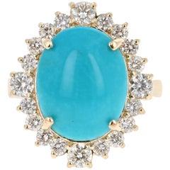 8.22 Carat Oval Cut Turquoise Diamond 14 Karat Yellow Gold Ring