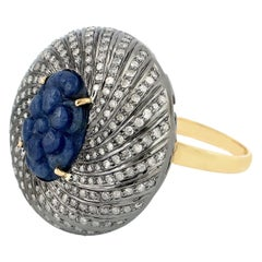 8.22 Carved Blue Sapphire Diamond Ring