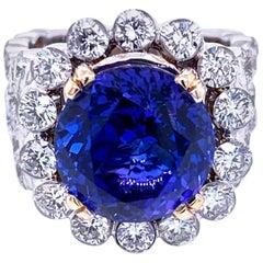 8.23 Carat Round Tanzanite Square Shank 5.02 Carat Diamond Engagement Ring