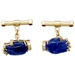 8.23 Carat Sapphire and Diamond Yellow Gold Cufflinks