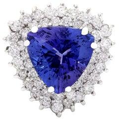 8.23 Carat Tanzanite 18 Karat Solid White Gold Diamond Ring