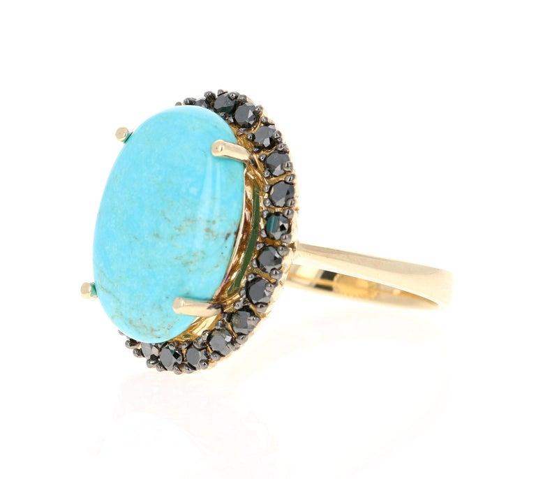 Modern 8.23 Carat Turquoise Black Diamond 14 Karat Yellow Gold Cocktail Ring For Sale