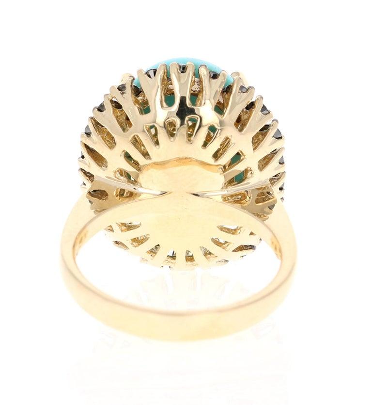 Cushion Cut 8.23 Carat Turquoise Black Diamond 14 Karat Yellow Gold Cocktail Ring For Sale