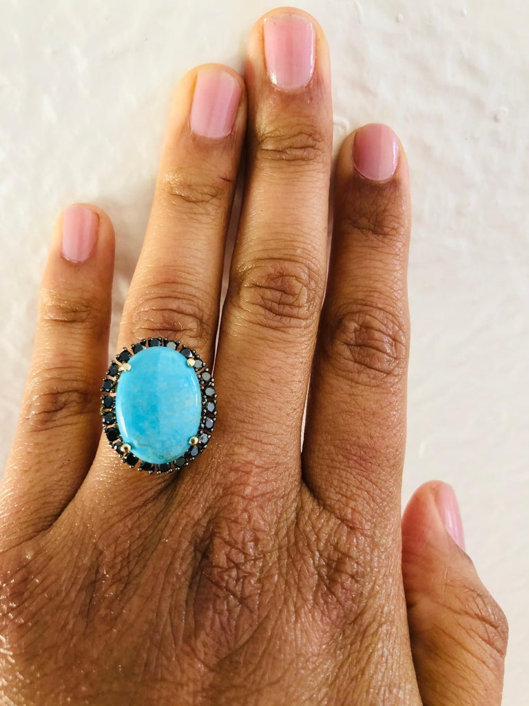 8.23 Carat Turquoise Black Diamond 14 Karat Yellow Gold Cocktail Ring In New Condition For Sale In San Dimas, CA