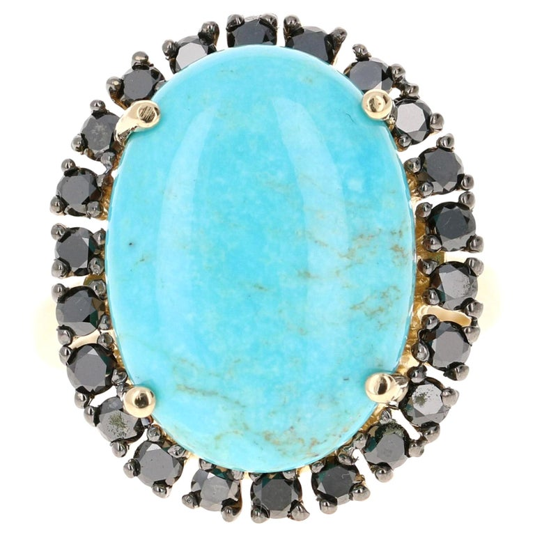 8.23 Carat Turquoise Black Diamond 14 Karat Yellow Gold Cocktail Ring For Sale