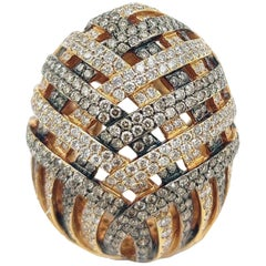 8.24 Carat Diamond 18 Karat Gold Chevron Statement Ring