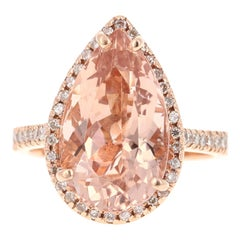 8.24 Carat Morganite Diamond 14 Karat Rose Gold Cocktail Ring