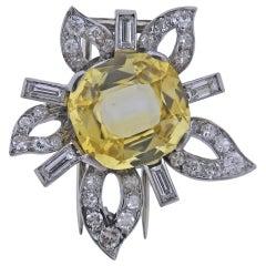 8.24 Carat Yellow Sapphire Platinum Diamond Brooch