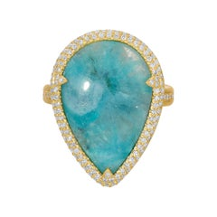 8.24ct Brazilian Milky Paraiba in 18k Matte Gold with Diamond Pave Halo Ring