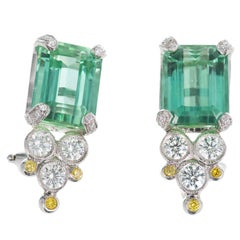 8.25 Carat Green Tourmaline White Yellow Diamond Art Deco Platinum Earrings