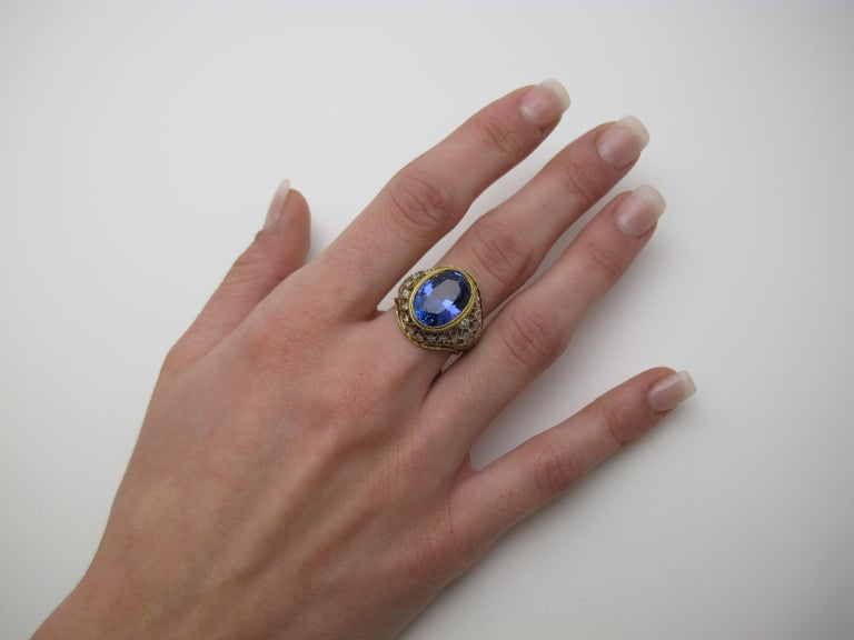 Artisan 8.25 ct. Tanzanite Oval, Diamond 18k White, Yellow Gold Florentine Cocktail Ring For Sale