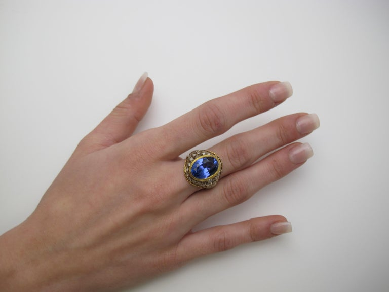 Oval Cut 8.25 ct. Tanzanite Oval, Diamond 18k White, Yellow Gold Florentine Cocktail Ring For Sale