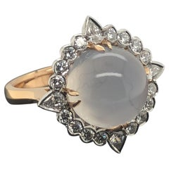 8.26 Carat Round Moonstone and White Diamond Ring Set in 18 Carat Gold