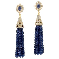 82.67 Carat Blue Sapphire Diamond 18 Karat Gold Tassel Earrings