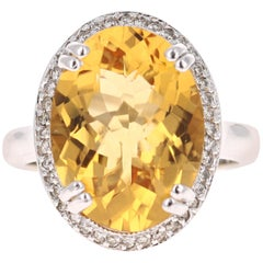 8.27 Carat Citrine Diamond 14 Karat White Gold Cocktail Ring