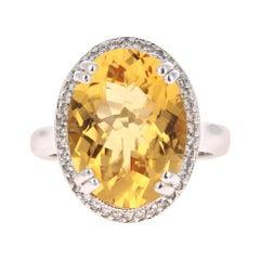 8.27 Carat Citrine Diamond 14 Karat White Gold Cocktail Ring