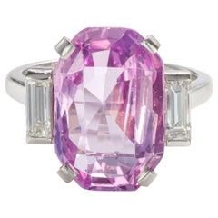 8.27 Carat Unheated Certified Pink Ceylon Sapphire and Baguette Cut Diamond Ring