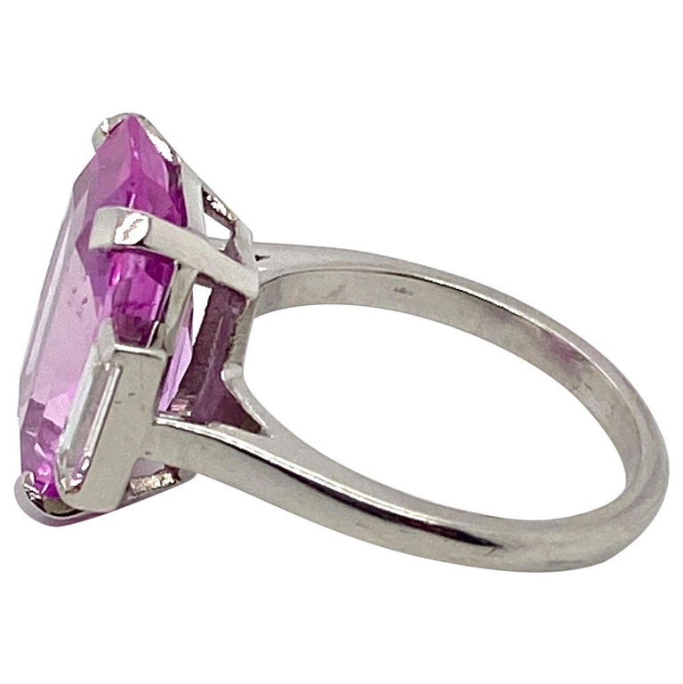 Contemporary 8.27 Carat Unheated Certified Pink Ceylon Sapphire and Baguette Cut Diamond Ring