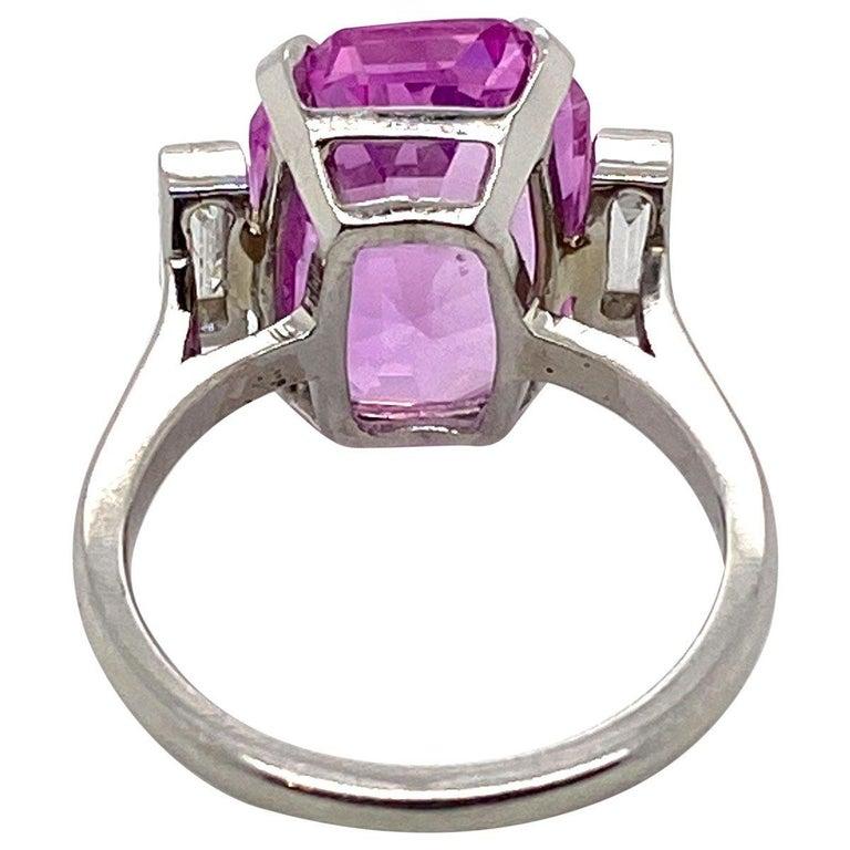 Emerald Cut 8.27 Carat Unheated Certified Pink Ceylon Sapphire and Baguette Cut Diamond Ring