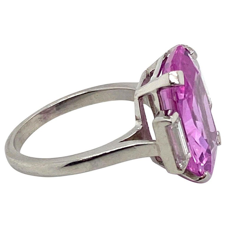 8.27 Carat Unheated Certified Pink Ceylon Sapphire and Baguette Cut Diamond Ring In Excellent Condition In QLD , AU