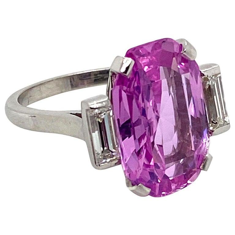 Women's 8.27 Carat Unheated Certified Pink Ceylon Sapphire and Baguette Cut Diamond Ring
