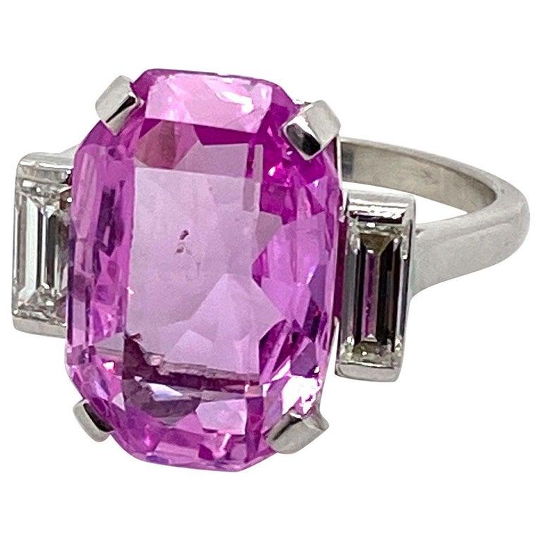8.27 Carat Unheated Certified Pink Ceylon Sapphire and Baguette Cut Diamond Ring 1