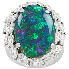 8.28 Carat Black Opal and Diamond Ring