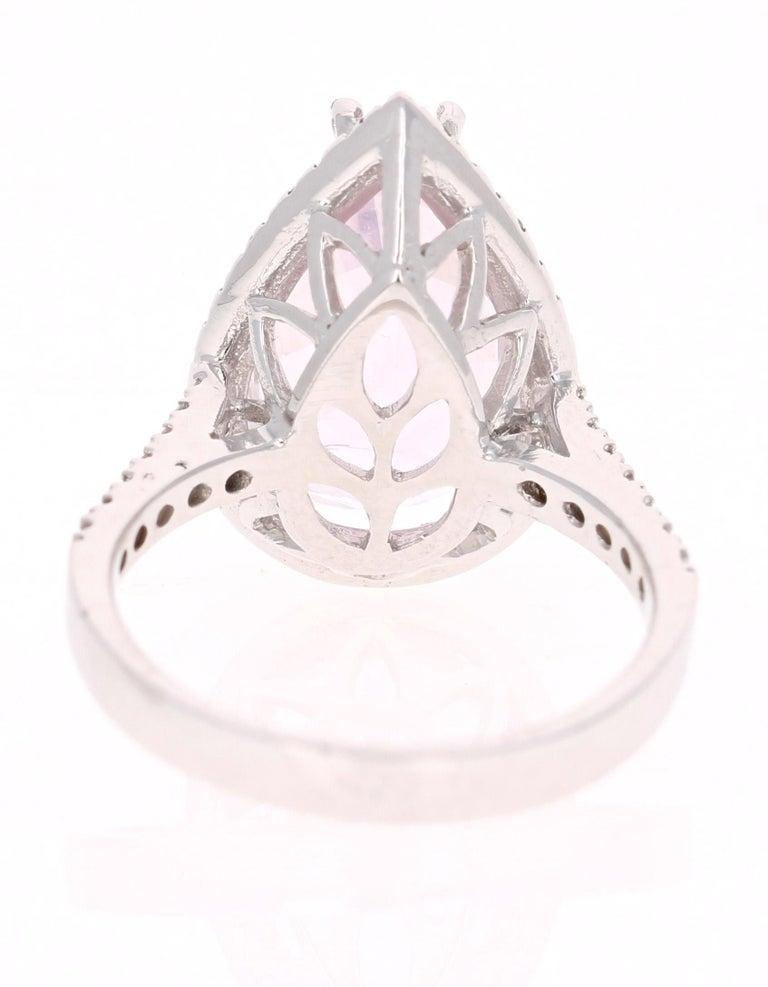 Pear Cut 8.28 Carat Kunzite Halo Diamond White Gold Engagement Ring For Sale