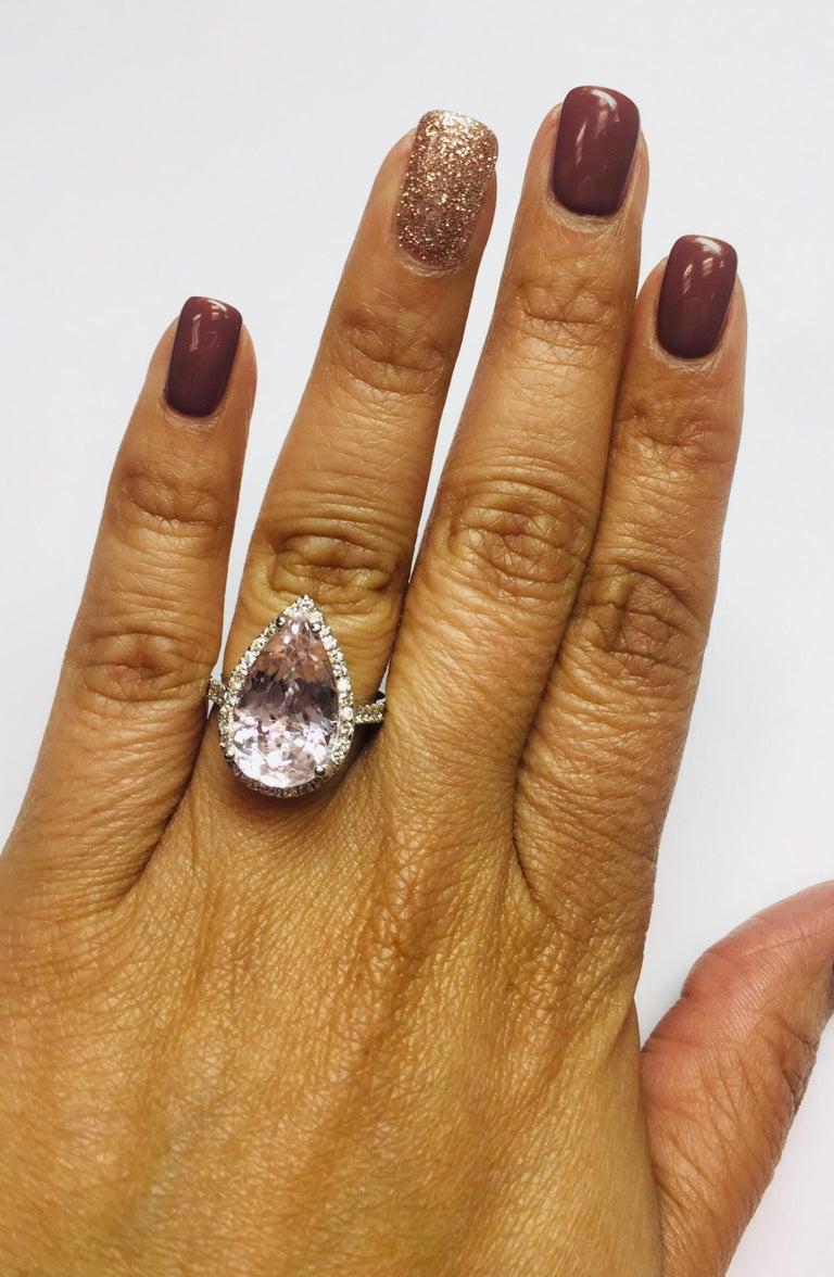 8.28 Carat Kunzite Halo Diamond White Gold Engagement Ring In New Condition For Sale In San Dimas, CA