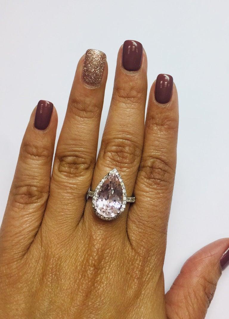 Women's 8.28 Carat Kunzite Halo Diamond White Gold Engagement Ring For Sale