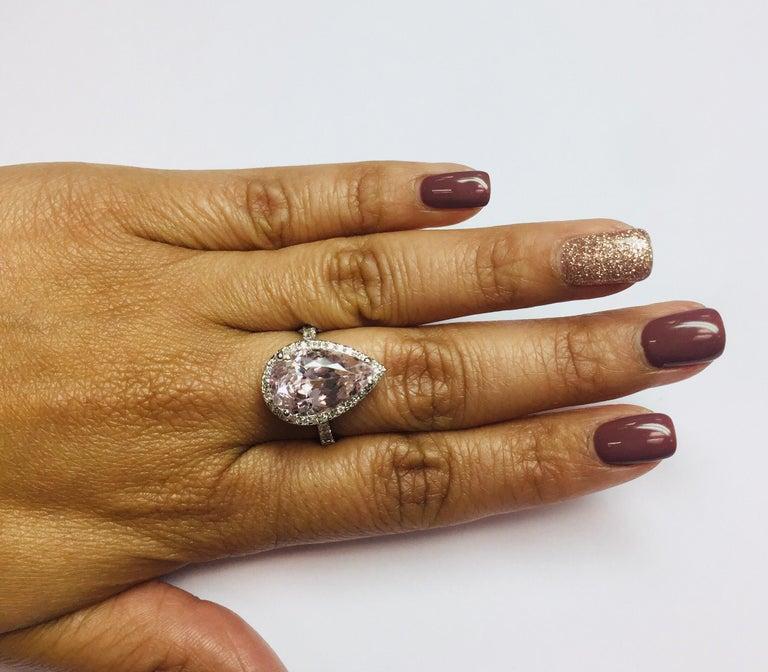 8.28 Carat Kunzite Halo Diamond White Gold Engagement Ring For Sale 1