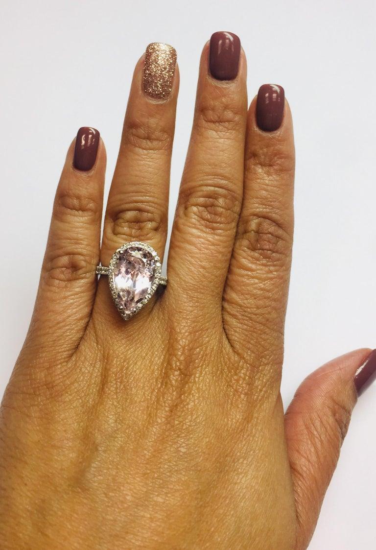 8.28 Carat Kunzite Halo Diamond White Gold Engagement Ring For Sale 2