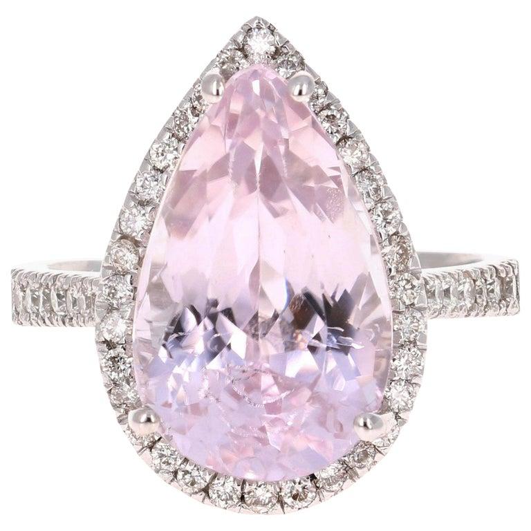 8.28 Carat Kunzite Halo Diamond White Gold Engagement Ring For Sale