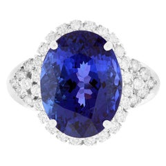 8.28 Carat Oval Tanzanite Engagement Ring