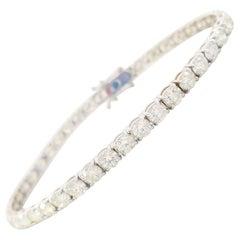 8.28 Carat Round Brilliant Cut Diamond Tennis Bracelet 14 Karat White Gold