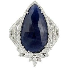 8.28 Carat Sapphire Diamond 18 Karat Cocktail Ring