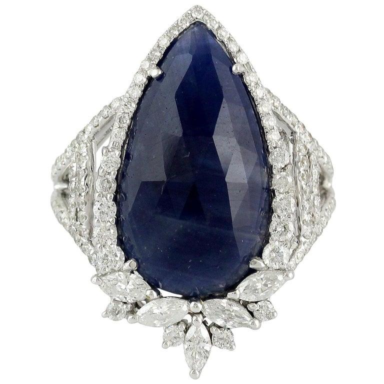 8.28 Carat Sapphire Diamond 18 Karat Cocktail Ring For Sale