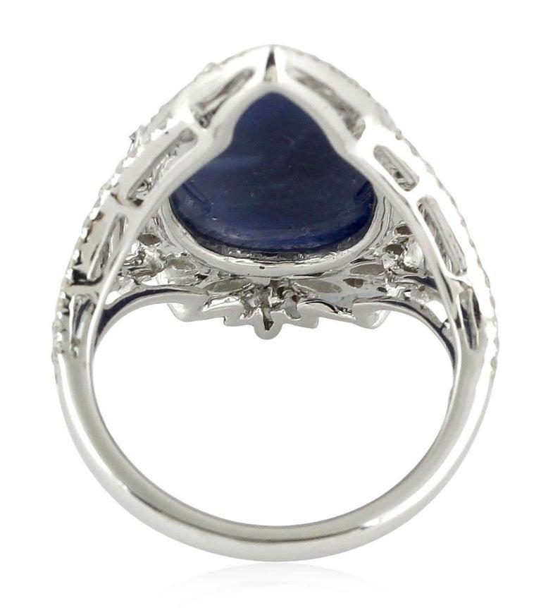 Contemporary 8.28 Carat Sapphire Diamond 18 Karat Cocktail Ring For Sale