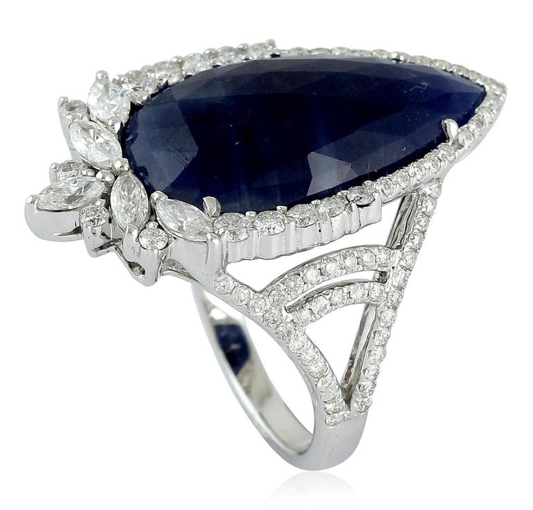 8.28 Carat Sapphire Diamond 18 Karat Cocktail Ring In New Condition For Sale In Hoffman Estate, IL