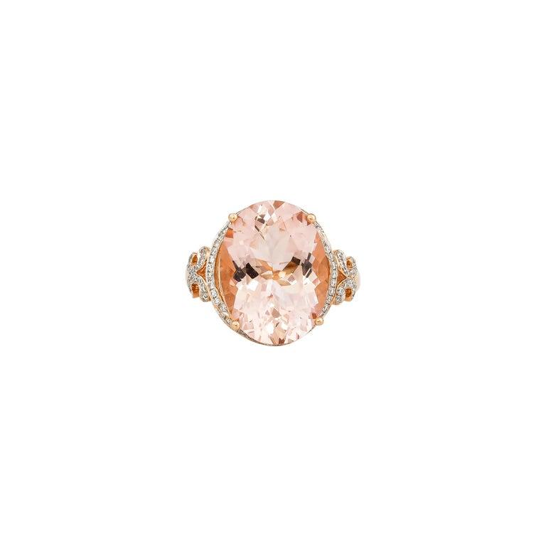 Women's 8.3 Carat Morganite and Diamond Ring in 18 Karat Rose Gold For Sale