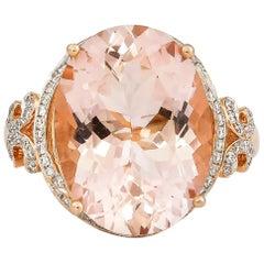 8.3 Carat Morganite and Diamond Ring in 18 Karat Rose Gold